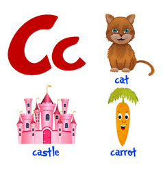 Cute kids cartoon alphabet letter c vector