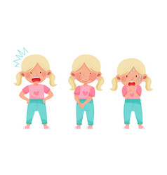 Cute little girl with blonde hair demonstrating vector