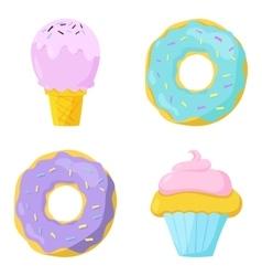 Cute sweet food icons set vector