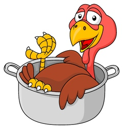 Cute Turkey in the saucepan vector
