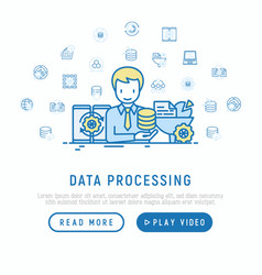data processing concept smm manager analyzes vector image