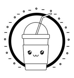 Delicious milkshake kawaii character vector