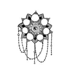 doodle style monochrome black line art lotus vector image