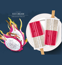 dragon fruit ice cream realistic product vector image