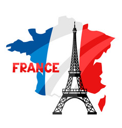 Eiffel tower on map france vector