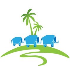 Elephants with palms logo vector