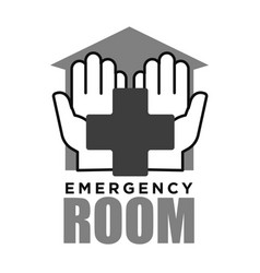 Emergency room medical cross and hands icon vector