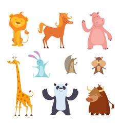 Exotic wild animals in cartoon style vector