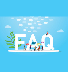 Faq frequently asked question concept with team vector