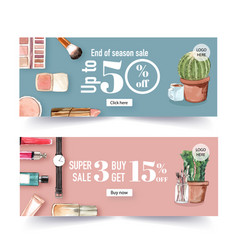 Fashion banner design with cosmetics and outfit vector