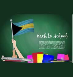 Flag of bahamas on black chalkboard background vector