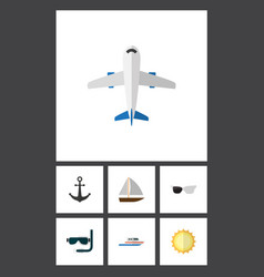 Flat icon beach set of aircraft spectacles boat vector
