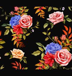 Flower hibiscus rose seamless pattern vector