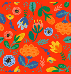 folk floral seamless pattern modern abstract vector image