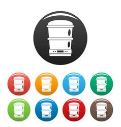 Food processor machine icons set color vector