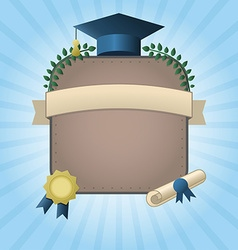 Graduation certificate template with empty space vector