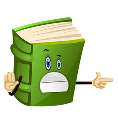 Green book is leading way on white background vector