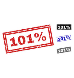 grunge 101 percent scratched rectangle stamps vector image