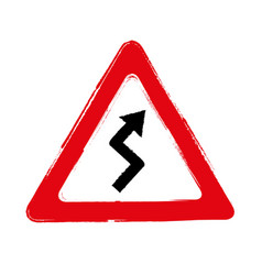 Grunge double bend warning traffic signs vector