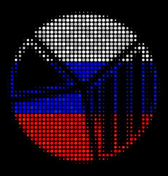 halftone russian pie chart icon vector image