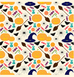 halloween colorful seamless pattern in modern flat vector image