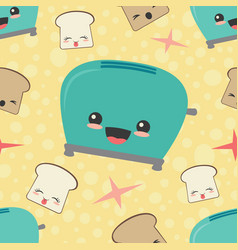 Happy toaster toast seamless pattern vector