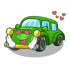 in love classic car in shape mascot vector image