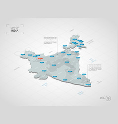 Isometric india map with city names and vector