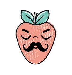 Kawaii nice sleeping strawberry icon vector