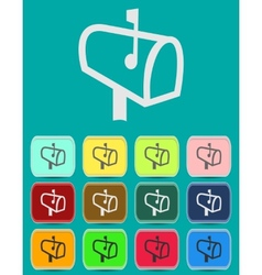 Mailbox with letters icon with color variations vector