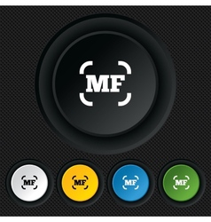 Manual focus photo camera sign icon MF Settings vector image