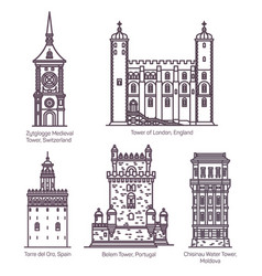 medieval towers in thin line europe building vector image