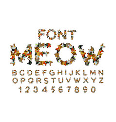 Meow font cat alphabet catlike abc letters of pet vector