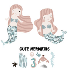 Mermaids with glitter tails and under sea elements vector
