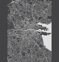 Monochrome detailed plan city of dublin vector