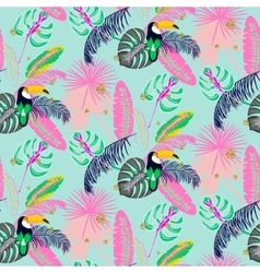 Monstera tropic plant leaves and toucan bird vector