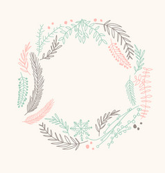 Multicolored filigree ornament circle wreath vector