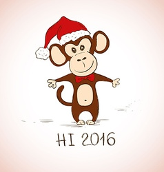 New Year Greeting Card With Funny Monkey vector image