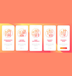 Online family therapy types onboarding mobile app vector