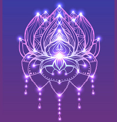 outline lotus with boho pattern and bright spark vector image