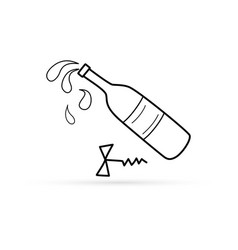Outlone corkscrew with bottle wine icon vector