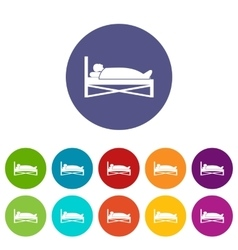 Patient in bed in hospital set icons vector image
