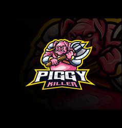 pig warrior mascot sport logo design vector image