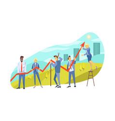 profit growth team collaboration partnership vector image
