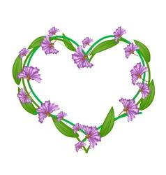 Purple Crape Myrtle Flowers in A Heart Shape vector image