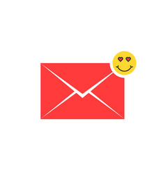 red love letter icon with emoji vector image