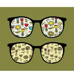 Retro sunglasses with flowers reflection in it vector image