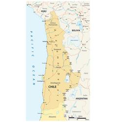 Roads map atacama desert chile vector