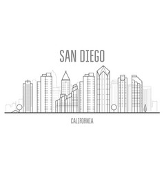 San diego cityscape with skyscrapers vector