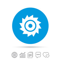 Saw circular wheel sign icon cutting blade vector